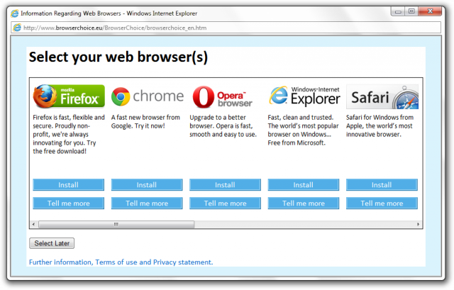 The browser choice screen displayed to European Union users of Windows.