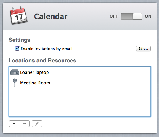 After enabling the Calendar service, you can create and manage meeting rooms and other resources for it in Server.app.