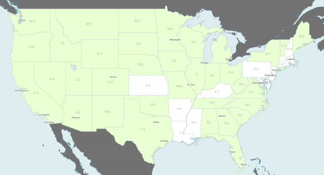 "States receiving Connect America Phase 1 support are in color. You can browse the <a href=""http://a.tiles.mapbox.com/v3/fcc.CAF-Phase-1-States/mm/legend,zoompn,tooltips,zoomwheel,zoombox,attribution,bwdetect,share.html#5.00/38.307/-93.142"">FCC's map</a> if you wish."