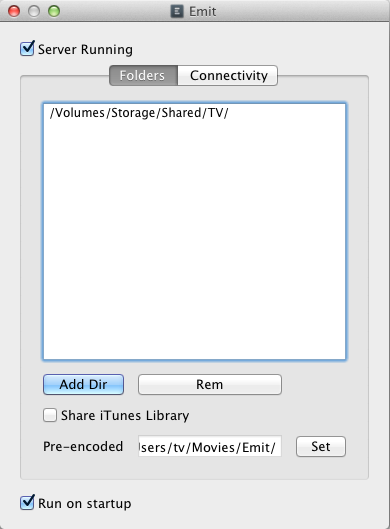 Setting media folders in the Emit desktop app.