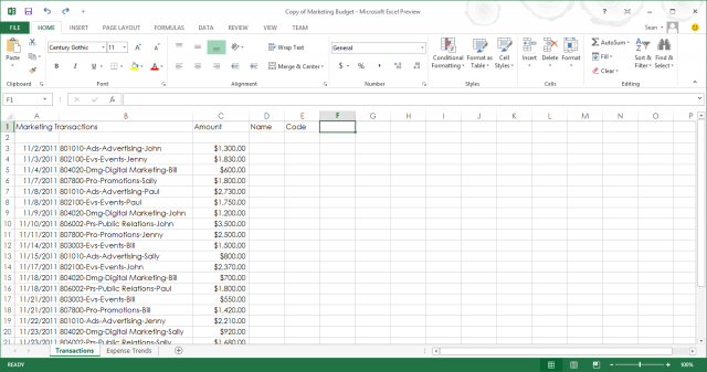 The Excel spreadsheet interface, like Word and the rest of the Office suite, is Metro-ish in its look and feel and somewhat set up to work on a PC or touch tablet. Like the other core apps, it keeps the ribbon interface from Office 2010, but it can easily be hidden (and is hidden by default in touch mode).