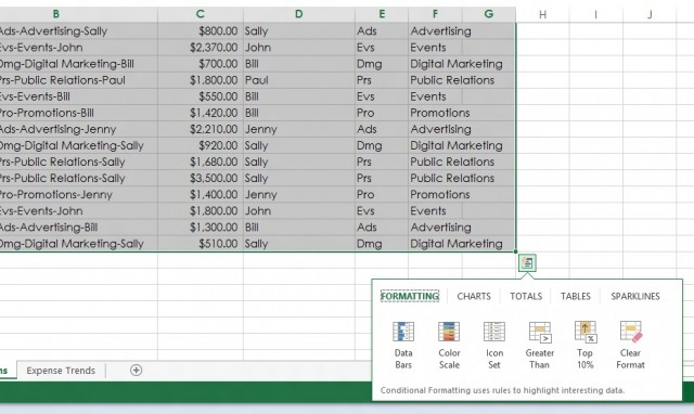 "When you select a range, Excel 2013 pops up a ""Quick Analysis"" box. Click on it, and you're given a selection of recommended formatting, chart, calculation, and pivot table options."