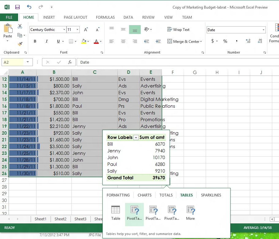 Perhaps the most valuable of these quick analysis tools—at least from an ease-of-use standpoint—is the recommended Pivot Table feature. It looks at the columns of data, and creates suggested pivot views based on their contents, previewing the table before you click it.
