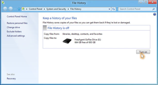 While easy to enable, File History is off by default.
