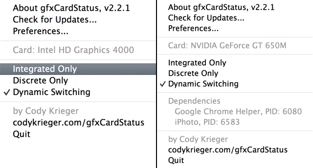 Quickly switch between integrated, discrete, or dynamically switching graphics.