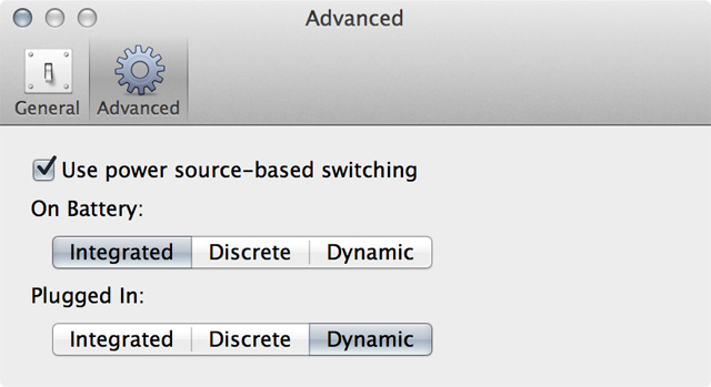 Advanced options let you automatically switch among GPU settings based on the power source of your Retina MacBook Pro.