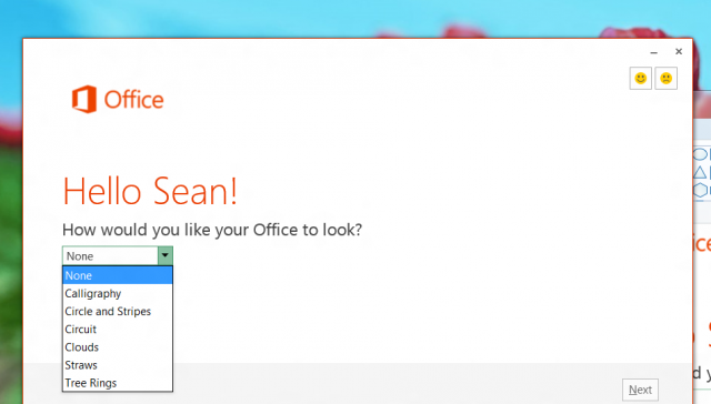 Getting personal: the theme information applied at installation will follow you around when you log into other copies of Office.