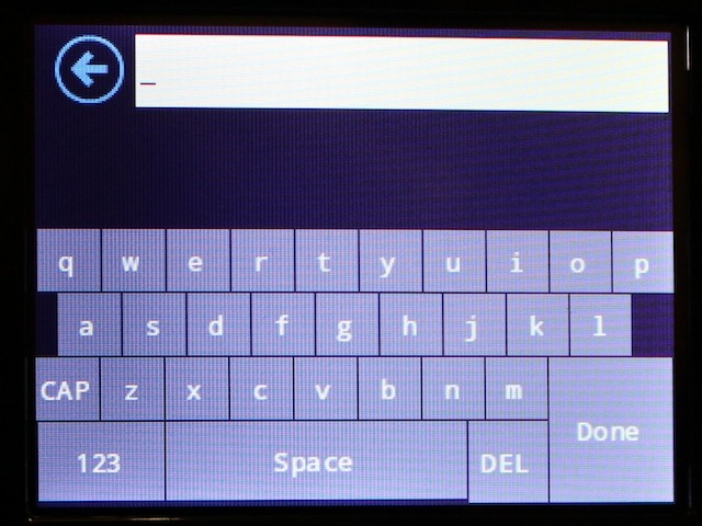 The Almond's onscreen keyboard is best used with the included stylus.