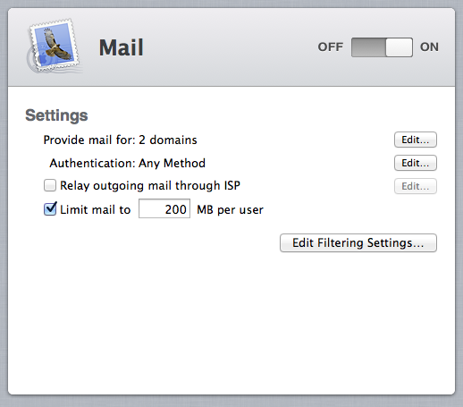 Configuration options for the Mail service have been severely curtailed in Mountain Lion, and the Web client has been removed entirely.