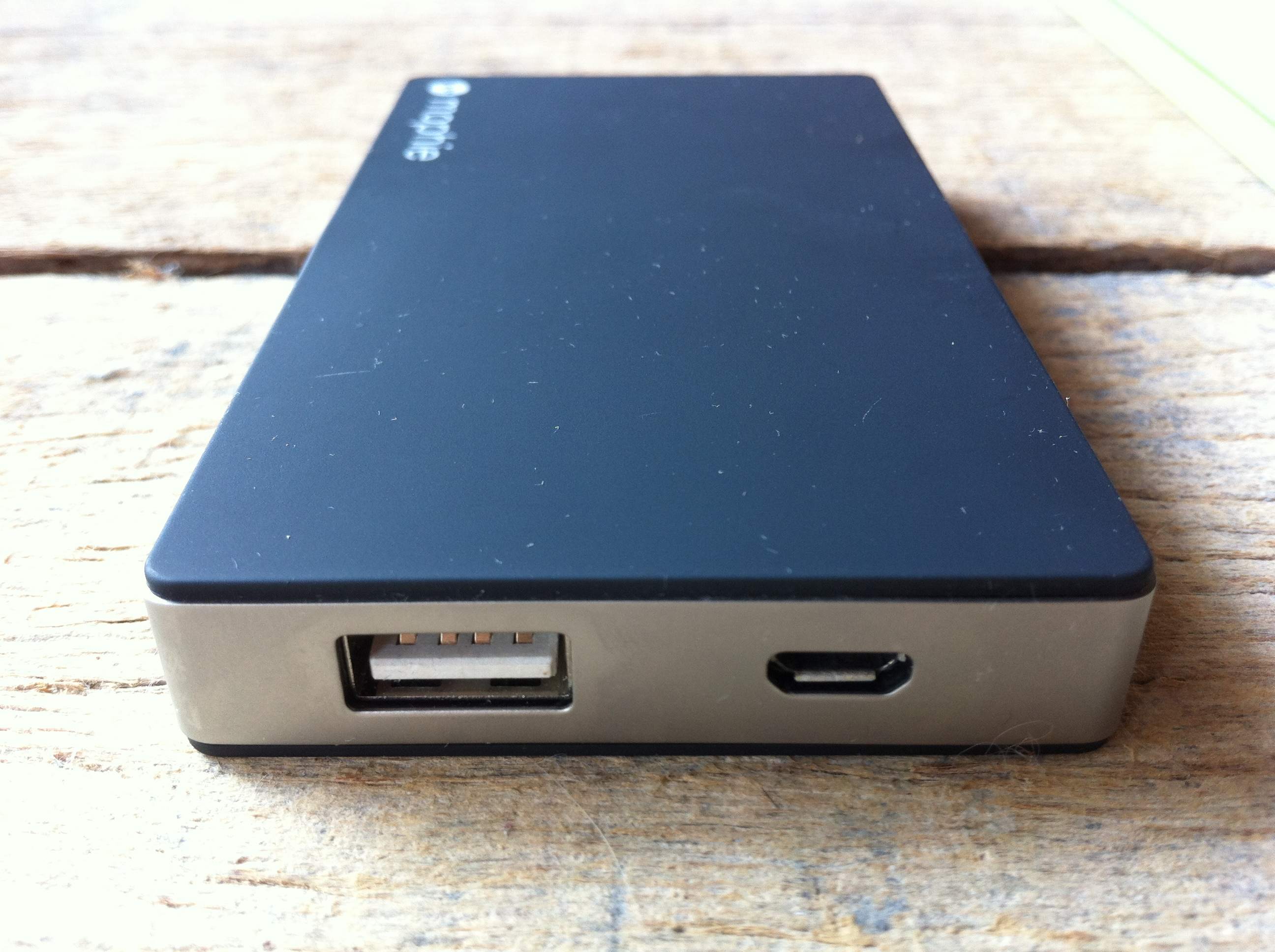 Micro USB (right) is for charging the JuicePack; standard USB is for charging your other devices <em>with</em> the JuicePack.