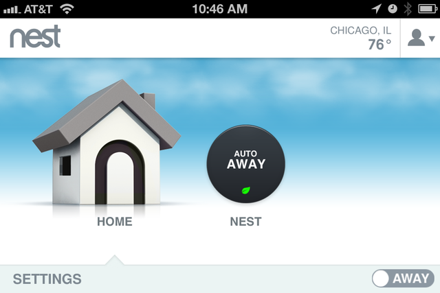 """The Nest iPhone app looks nearly identical in portrait and landscape mode—except for that little """"away"""" switch on the bottom right, which only shows up in landscape. Frustrating!"""