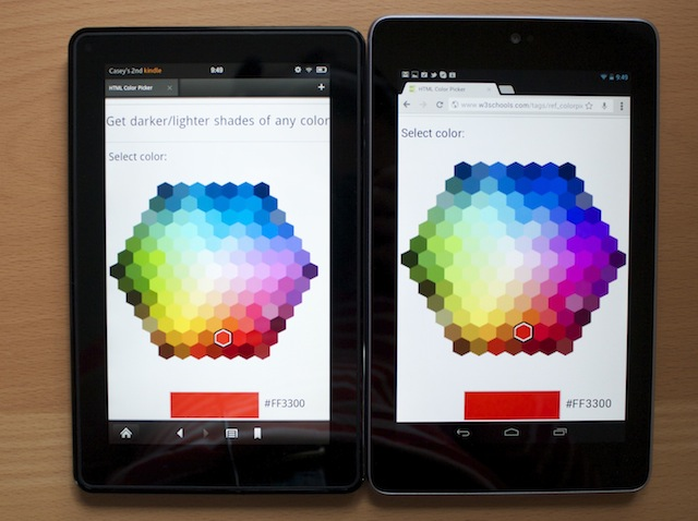 The Kindle Fire, left, next to the Nexus 7.