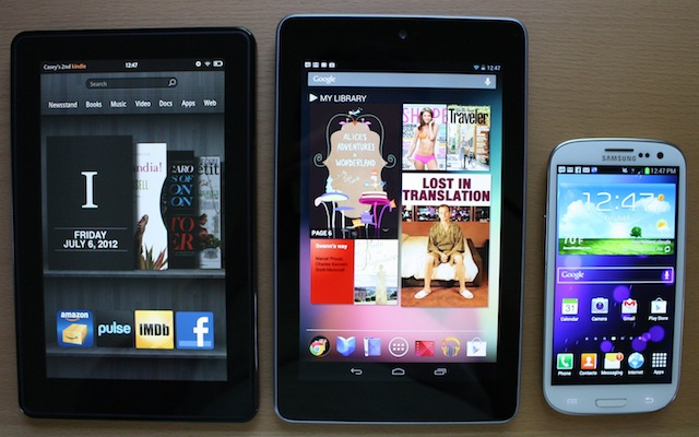 The Kindle Fire, the Nexus 7, and a Samsung Galaxy S III.