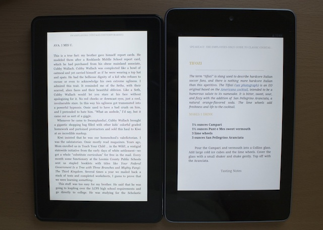 The Kindle Fire's smallest text size, left, next to the Nexus 7's smallest text size in the Kindle app