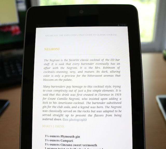 Reading <em>Speakeasy</em> on the Nexus 7.