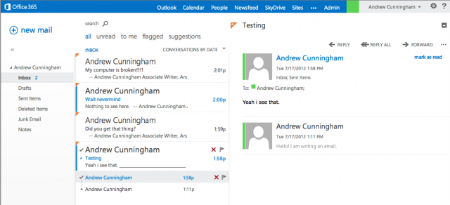 The Outlook 2013 Web App has been Metro-ized, just like the others.