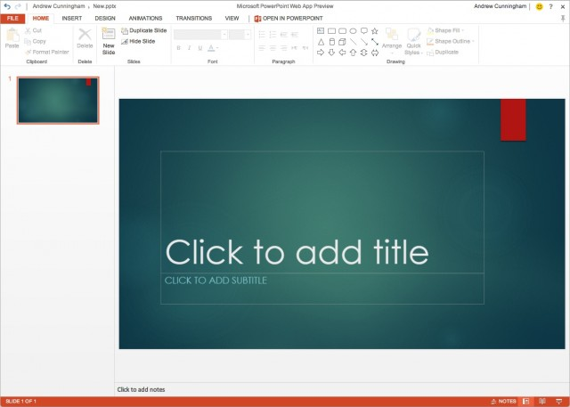 As in the desktop app, new PowerPoint decks created in the PowerPoint 2013 Web App are 16:9 rather than 4:3.