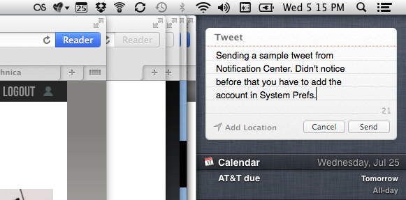 Tweeting from Notification Center isn't a huge productivity improvement, but the option is there if you need it.