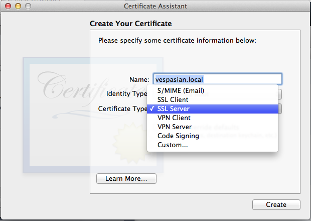 Creating a new self-signed SSL certificate with Server.app.