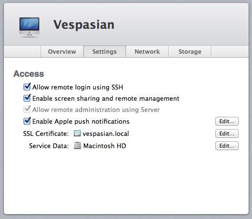 Configuring remote access and SSL certificates is all done from within Server.app.