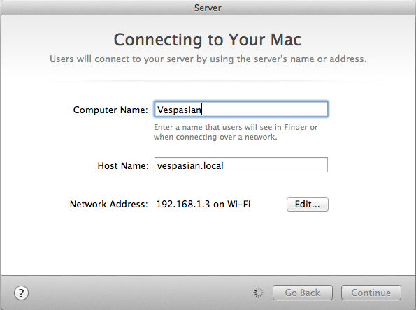 Configuring a hostname is the most complicated decision you'll have to make when turning your Mac into a server.