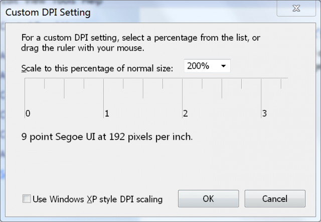 "Clicking on ""custom DPI"" in the Displays control panel makes it possible to activate a 200% scaling option."