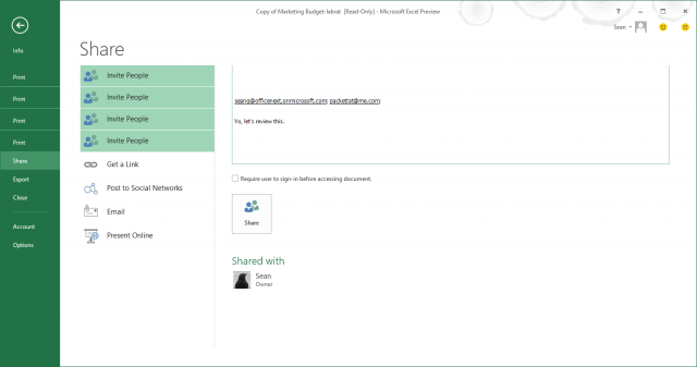 The file sharing interface from within Office apps offers a number of options for sharing, including creating a collaboration URL for the file hosted on a Microsoft server or posting to SharePoint, sending it as an e-mail, or presenting it via a Web player. When Web-sharing, you can invite people directly from within the application, or create a URL to post for large numbers of people to get access.
