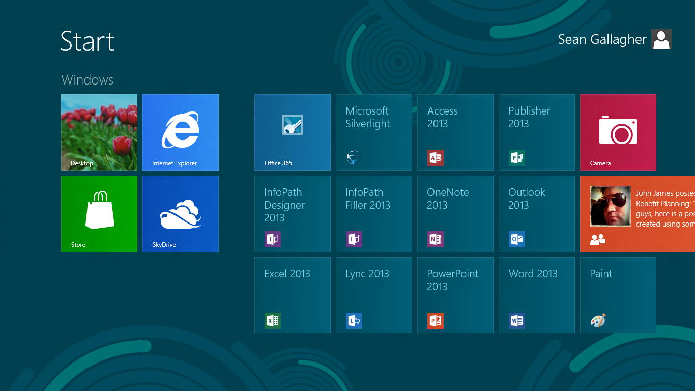 The ten tiles of Office 2013, plus a link to the Office 365 service. Silverlight photobombed the group shot.
