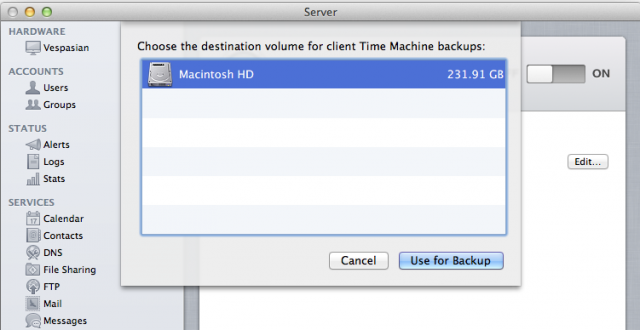 Enabling the Time Machine service is as easy as choosing the volume you'd like to use to store backups, but everything else is out of your control.