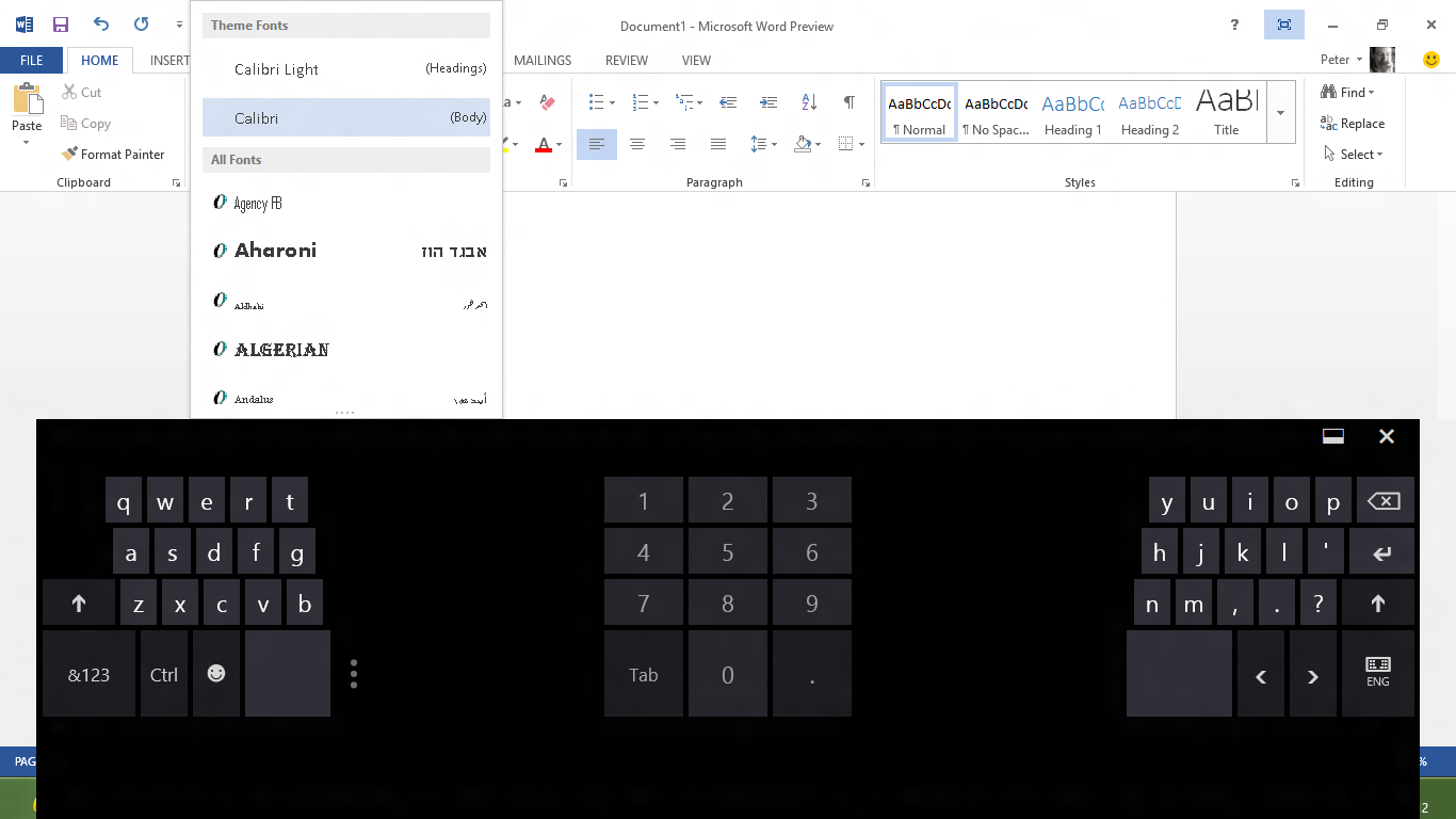 The combination of wide spacing and the bulky on-screen keyboard means that the font menu is extremely cramped.
