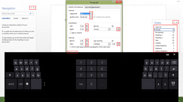 A few examples, boxed in red, of UI elements that don't work on touchscreens. There are many more than just these.