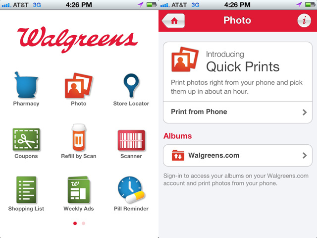 Walgreens' own iPhone app naturally includes Quick Prints features.