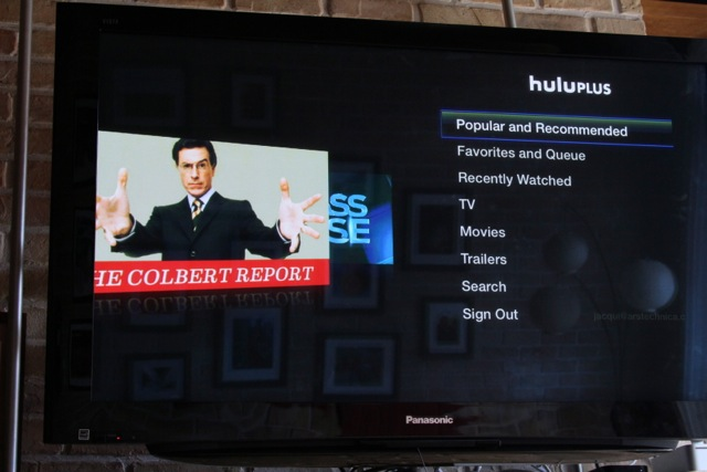 Hulu Plus's main interface on the Apple TV
