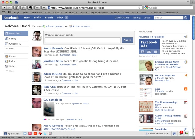 Facebook 2009 Layout