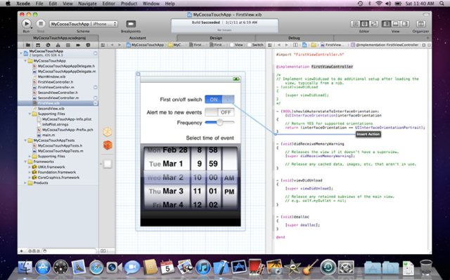 Xcode 4 unifies design and code view, available to all for