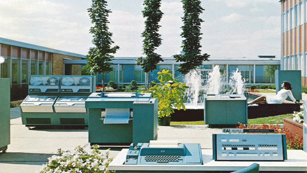 Sky above; hardware below: a 1966 outdoors portrait of the EA 640 Digital Computing System.