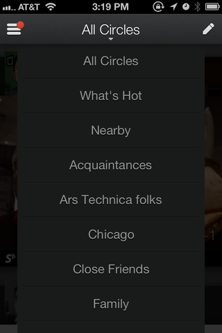 Circles are now much easier to access from the top of the screen.