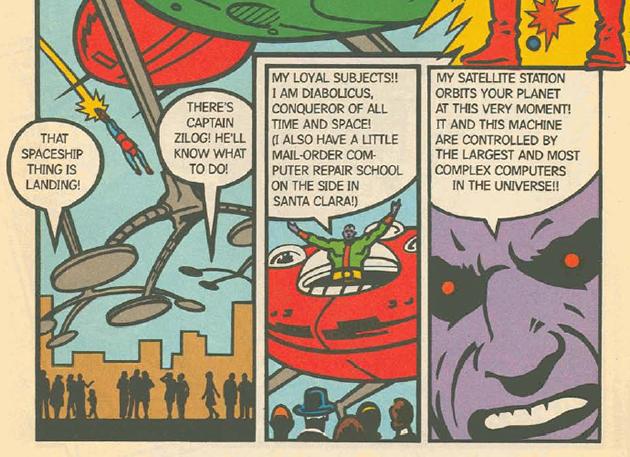 Captain Zilog and his nemesis, Diabolicus, comic book creations of the Zilog Microprocessor Company, circa 1979