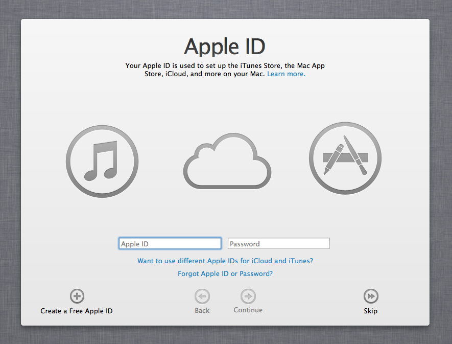 Be assured, Mountain Lion will ask you for your Apple ID.