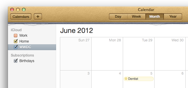 Calendars are now listed in a sidebar