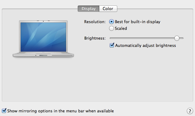 The newly simplified Displays preference pane.