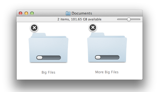 Progress bars on Finder icons during copy operations.