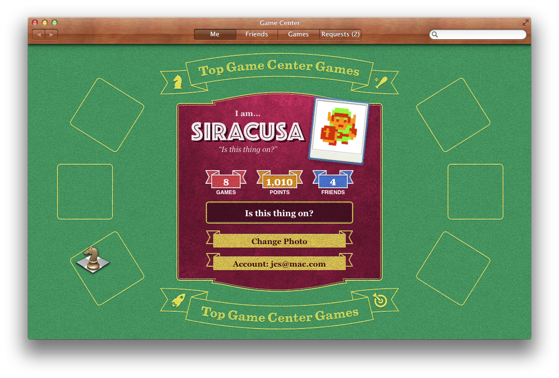 Game Center for OS X, looking a little barren. More games should be available by the time you read this.