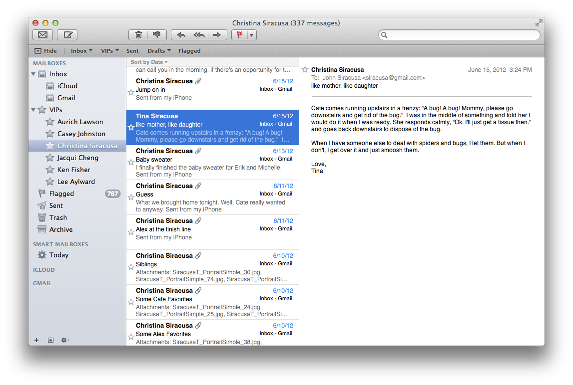Mail's new VIP feature: mark all e-mail from certain senders as especially important.