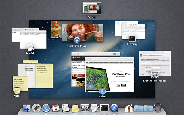 Mission Control with windows grouped by application.