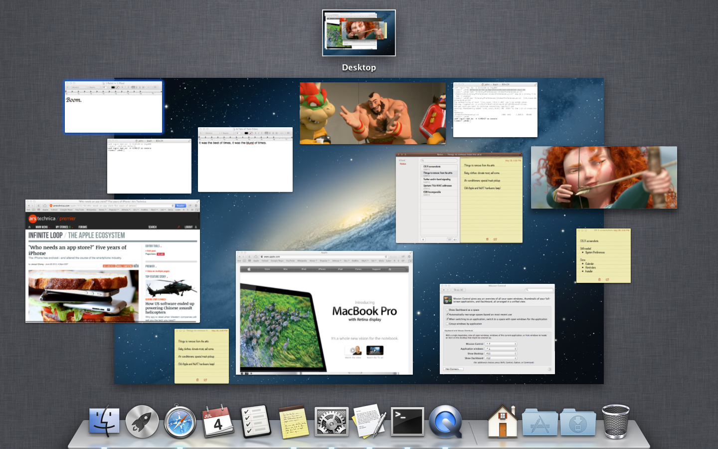 Mission Control with the new ungrouped windows option.