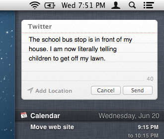 Send tweets from Notification Center