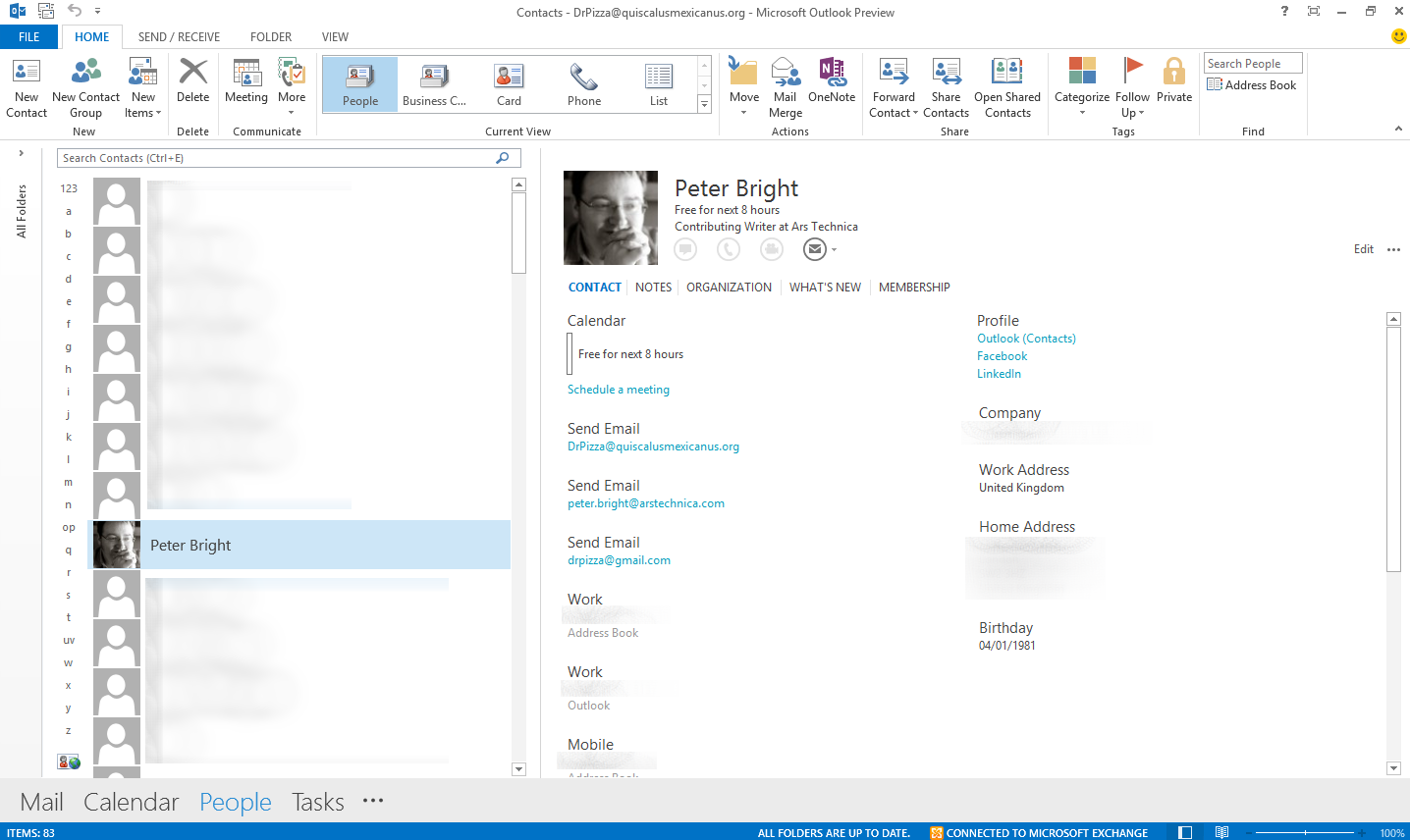 how to delete people from outlook