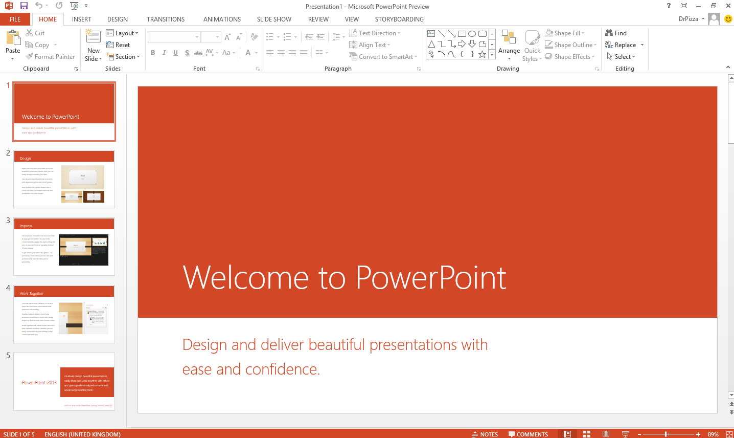 Enlarge powerpoint 2013 with its new look and feel