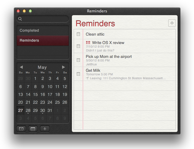 Reminders application